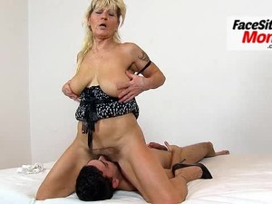 Hairy pussy cunt licking with grandma Hana her stepson